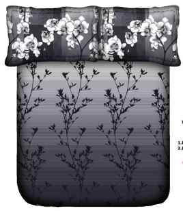 King Procion Bedsheets With 2 Pillow Cover Grey Flower Print