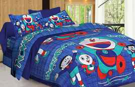 JAIPURI PRINT QUEEN SIZE 90X100 INCHES BEDSHEET DOREMON ON BLUE PRINT