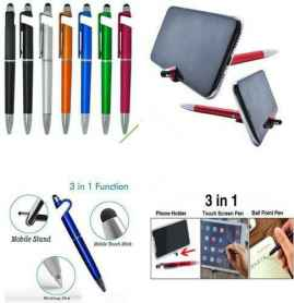 UNIVERSAL 3 IN 1 SMARTPHONE STAND SCREEN WIPE AND BALLPOINT PEN PACK OF 5