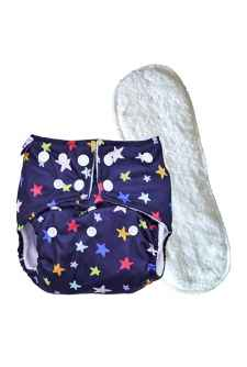 BABY REUSABLE PRINTED CLOTH DIAPER WITH 3 LAYER INSERTS SET OF 2