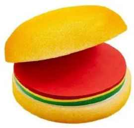 CHEESE BURGER SHAPED NOTEPAD WITH STICKY NOTES 99 SHEETS