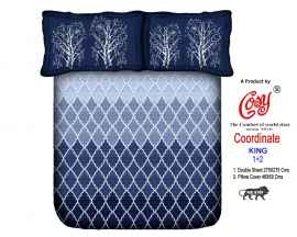 KING PROCION BEDSHEETS WITH 2 PILLOW COVER BLUE