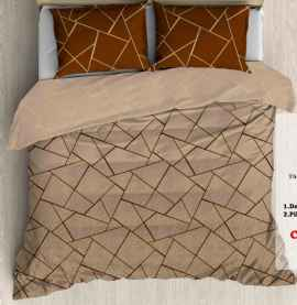 KING PROCION BEDSHEETS WITH 2 PILLOW COVER BROWN CHECK PRINT
