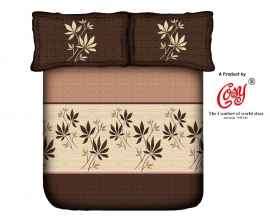 KING PROCION BEDSHEETS WITH 2 PILLOW COVER BROWN LEAF PRINT