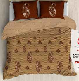 KING PROCION BEDSHEETS WITH 2 PILLOW COVER BROWN PRINTED