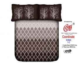 KING PROCION BEDSHEETS WITH 2 PILLOW COVER DARK BROWN
