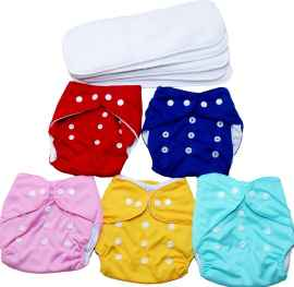 REUSABLE WASHABLE BABY CLOTH DIAPERS COMBO WITH 4 LAYER INSERTS RANDOM COLOURS SET OF 2