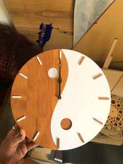 WHITE AND BROWN FASHIONABLE WALL CLOCK