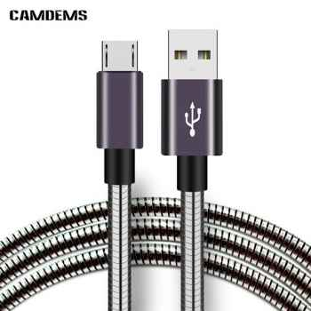 2A MICRO USB STAINLESS STEEL SPRING FLEXIBLE FAST CHARGING DURABLE 100 CM LENGTH DATE CABLE