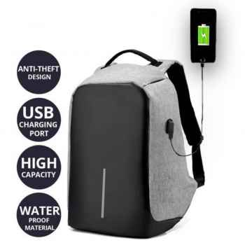 Anti theft waterproof laptop bag backpack with USB charging point