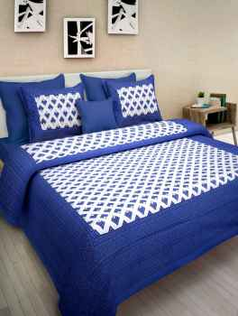 COTTON BEDSHEETS  QUEEN SIZE BLUE BORDER WITH WHITE DIAMOND PRINT