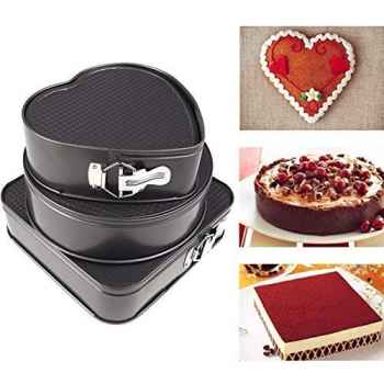 Three pieces cake mould Heart Square and Round